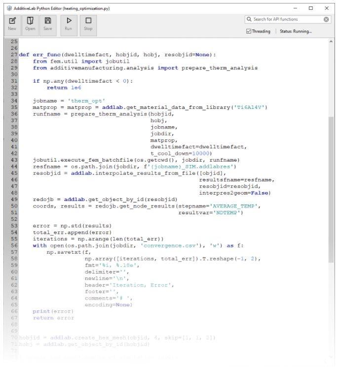 código de ejemplo de un script de Python